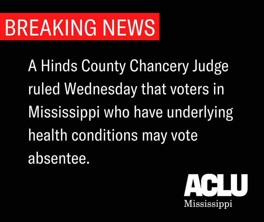 BREAKING NEWS, Ruling on Absentee Voting Lawsuit