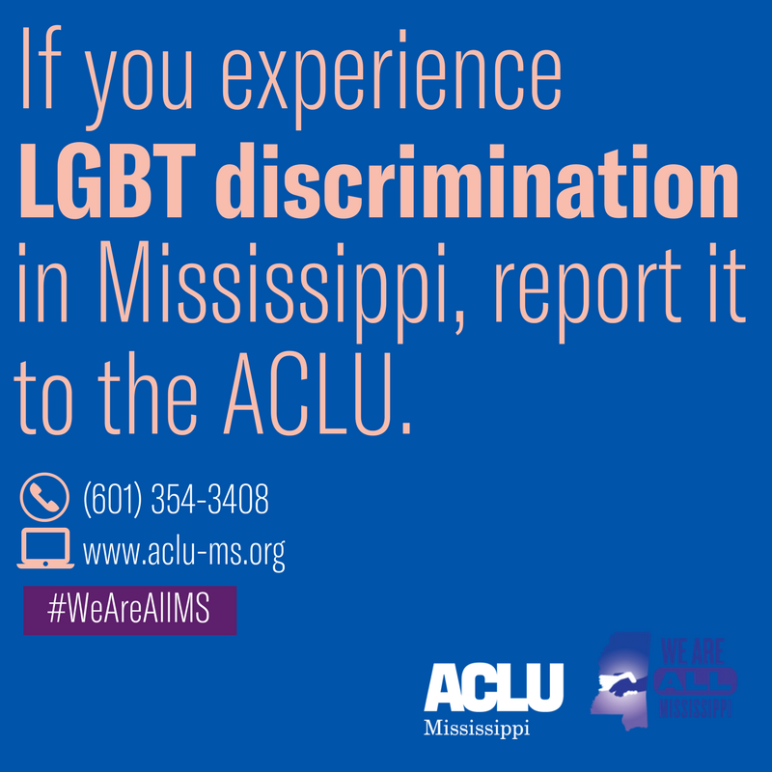 LGBT discrimination report to ACLU card