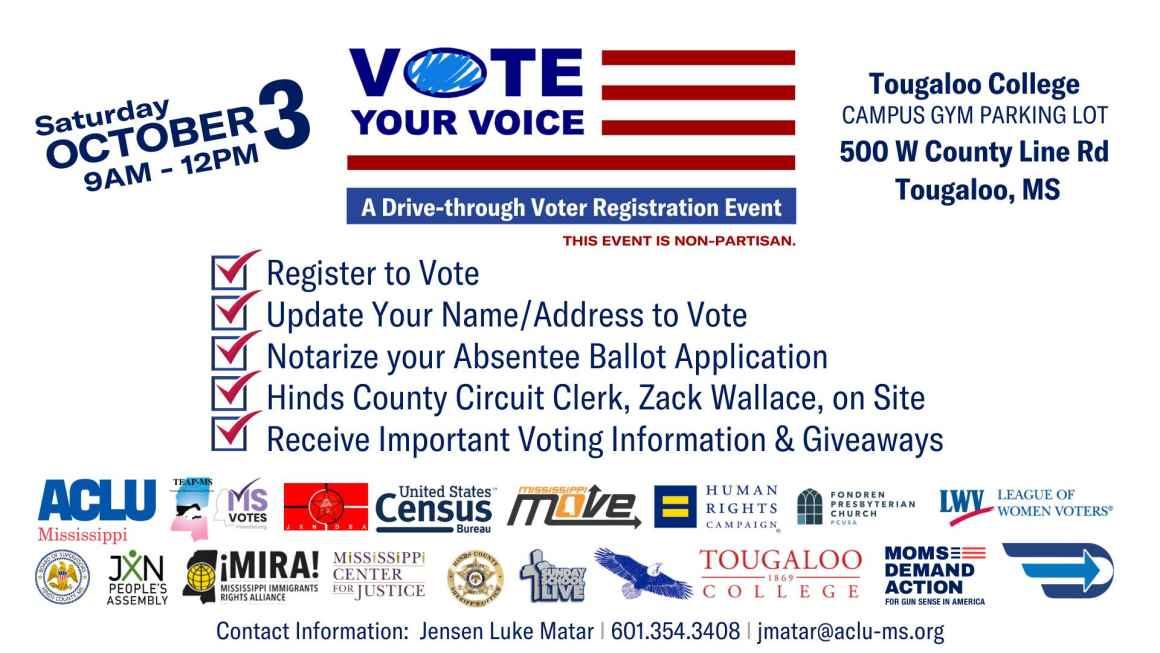 Vote Your Voice event flyer